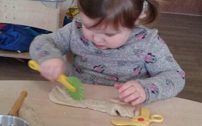 Making Sensory Fruit Playdough Pancakes